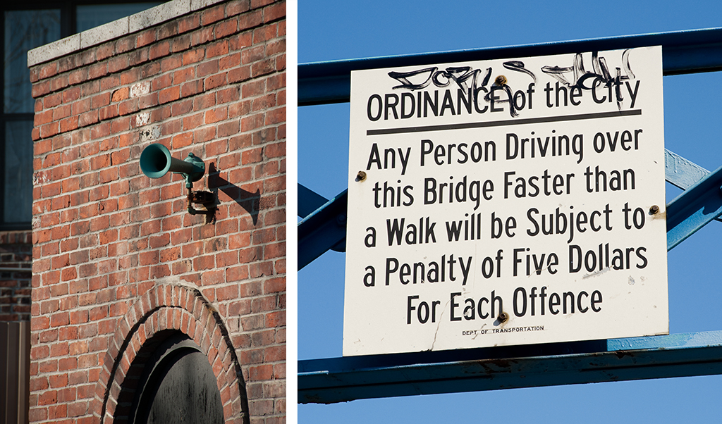 horn fixed to bridge house; sign warning of five dollar penalty