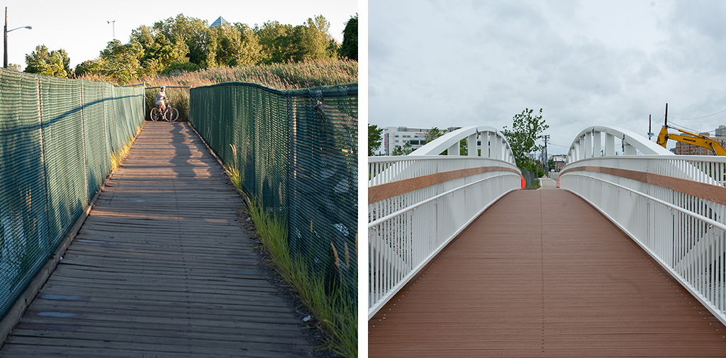 Original walkway, 2010 (left); Replacement walkway, 2013 (right)