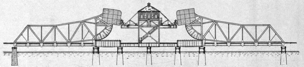 A double Scherzer Rolling Lift bridge replaced a swing bridge in 1904. (Source: Engineering-News Record, Vol. 49, No. 9)